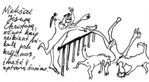 Niekšai Jėsusą Chistosą, užuot kaip reikiant prikalę prie kryžiaus, įmetė į aptvarą šunims