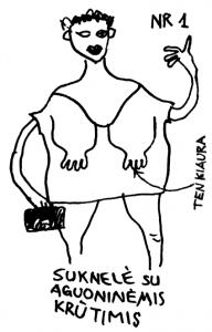 Suknelė su aguoninėmis krūtimis