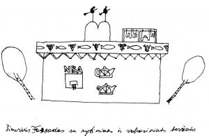 Šiaurinis fasadas su rytiniais ir vakariniais beržais