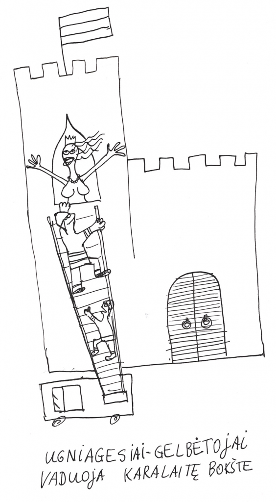 Ugniagesiai-gelbėtojai vaduoja karalaitę bokšte