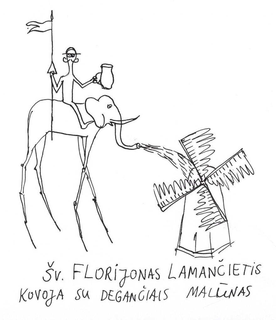 Šv. Florijonas Lamančietis kovoja su degančiais malūnais